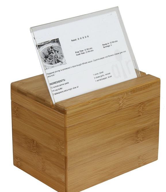 Recipe card box with holder.