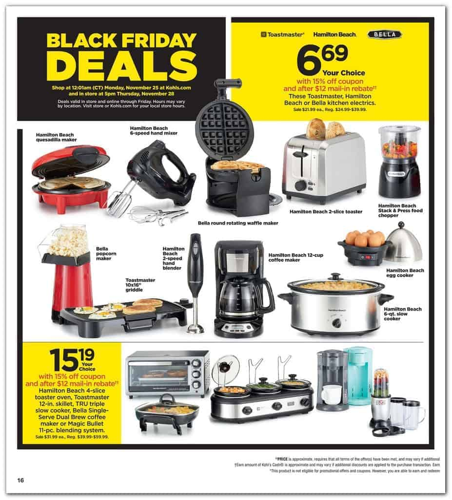 Kohl\'s Black Friday Small Kitchen Appliances sale.