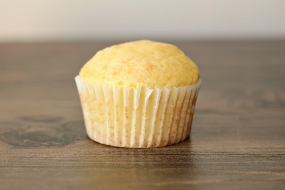 A baked vanilla cupcake