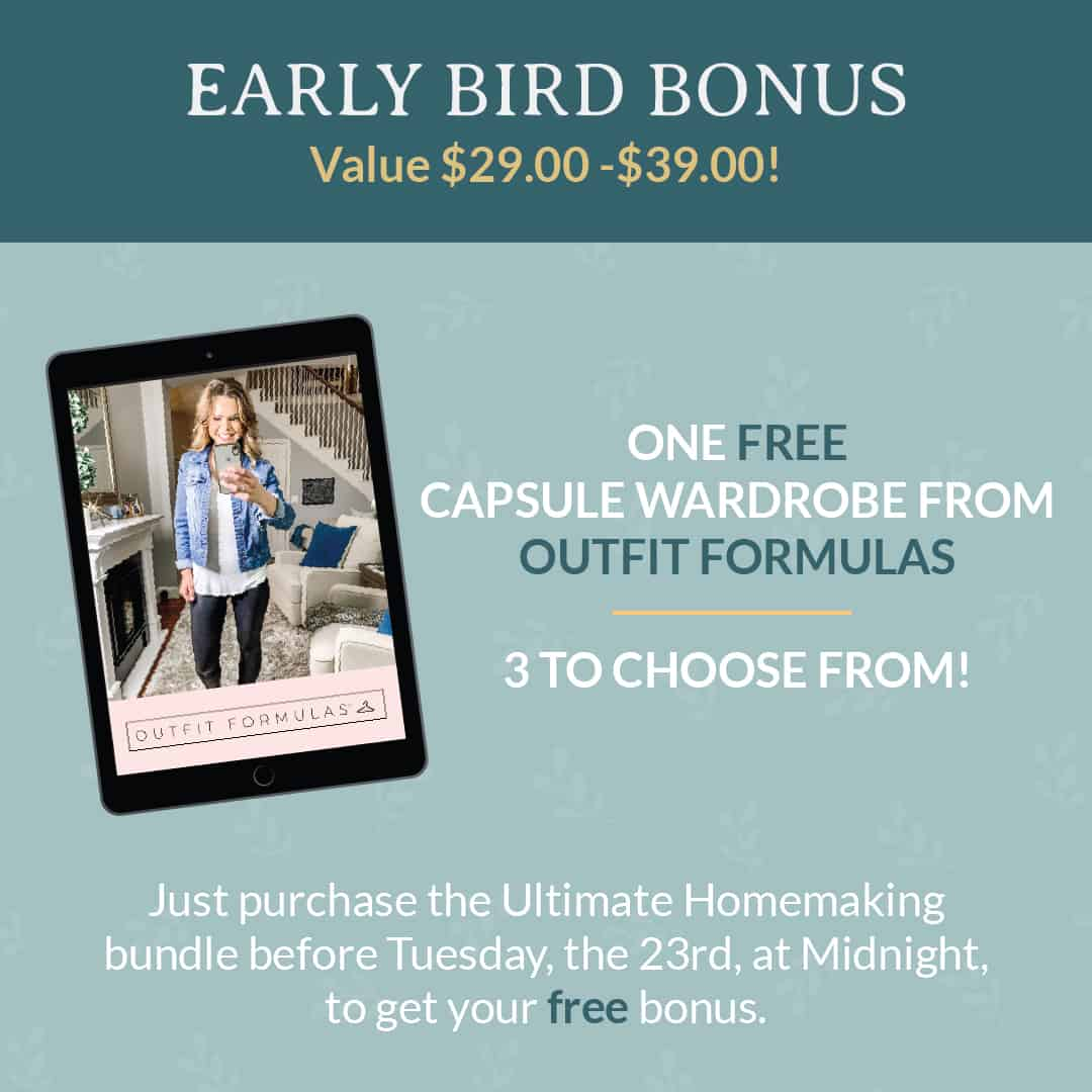 Early bird bonus for the Ultimate Homemaking Bundle sale, which is available for a limited time.