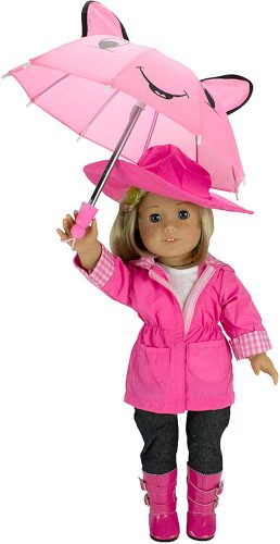Rain coat, umbrella, and outfit for this American Girl doll.