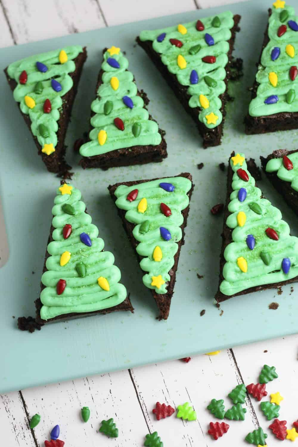 Christmas Tree Brownies, a fun Christmas dessert for the entire family.
