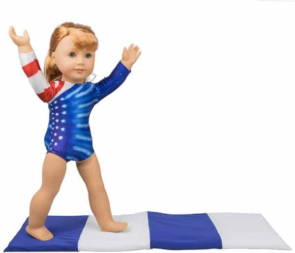 american girl gymnastics outfit with mat.