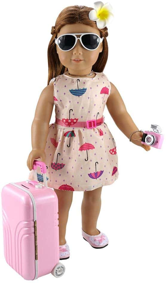 american girl travel set with suitcase and camera.