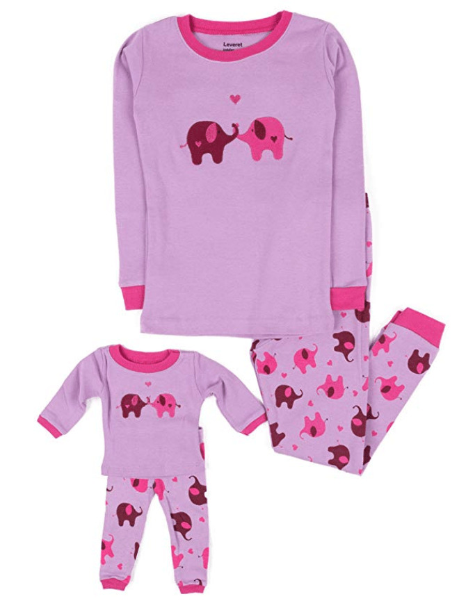 Matching kid and doll pajamas from american girl.