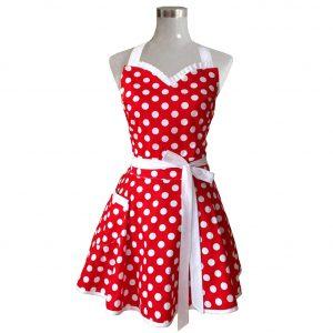 Lovely sweetheart polka dot vintage apron.