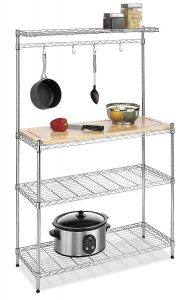whitmor supreme bakers rack with wood cutting board