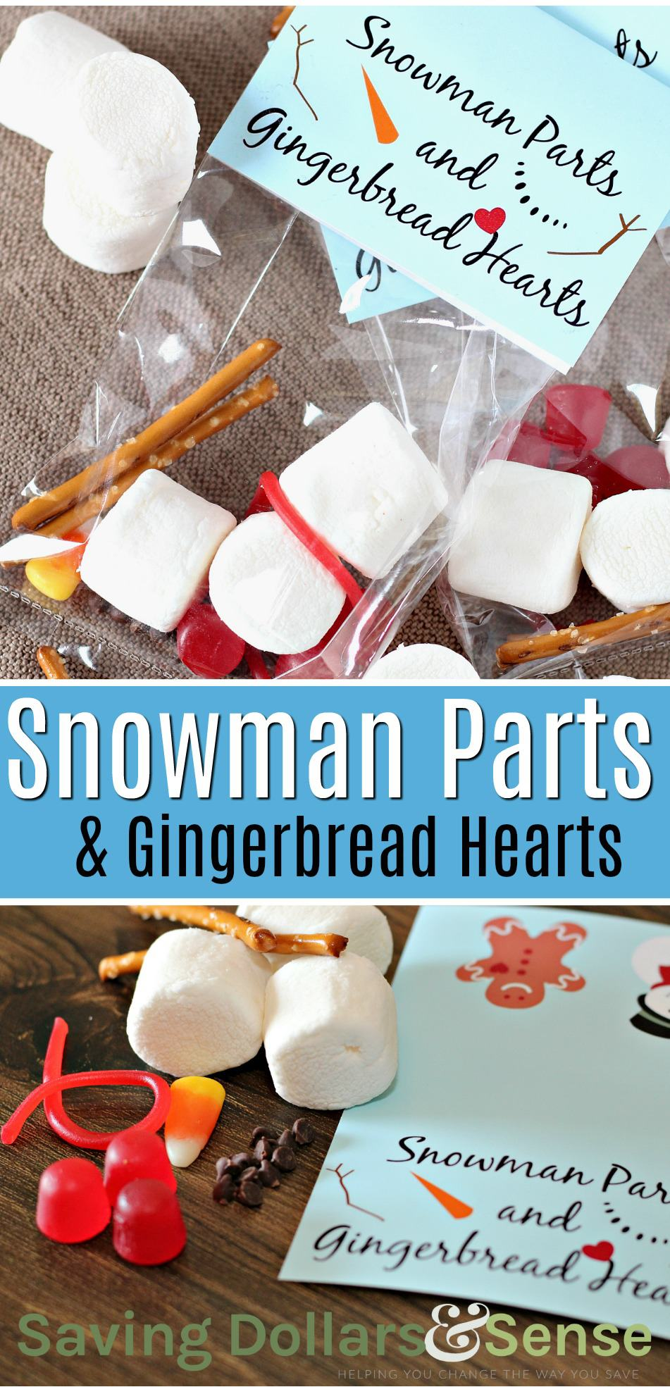 snowman parts and gingerbread hearts treat