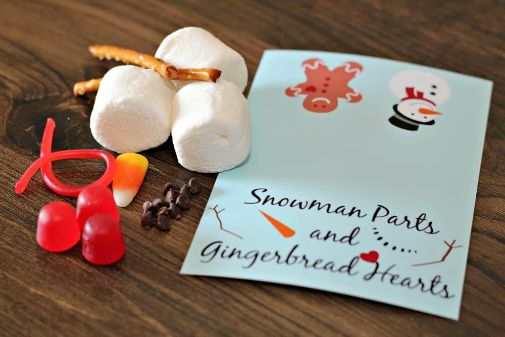 snowman parts and gingerbread treat