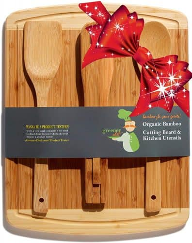 Bamboo cutting board and utensil set. The Best Gifts for New Homeowners