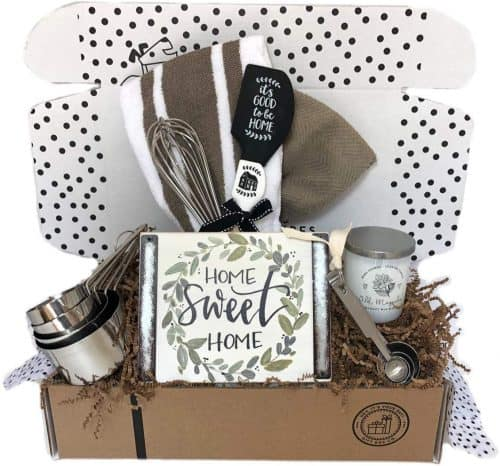 Housewarming gift basket with letter board. The Best Gifts for New Homeowners