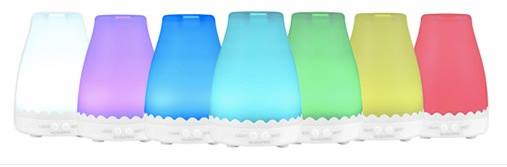 Multi-colored diffussers to select from. These essential oil diffusers are LED colors.