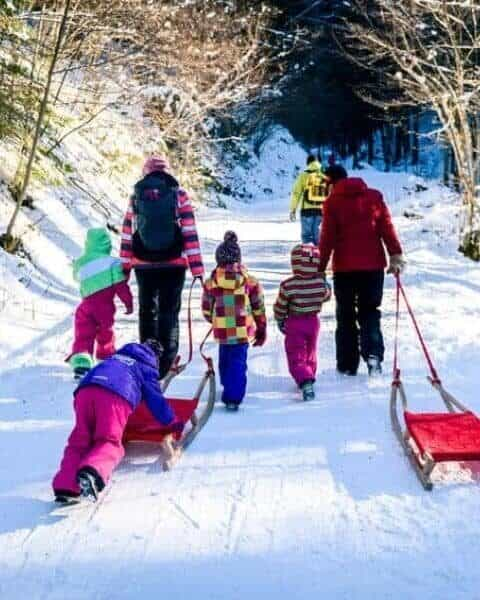 family going sledding