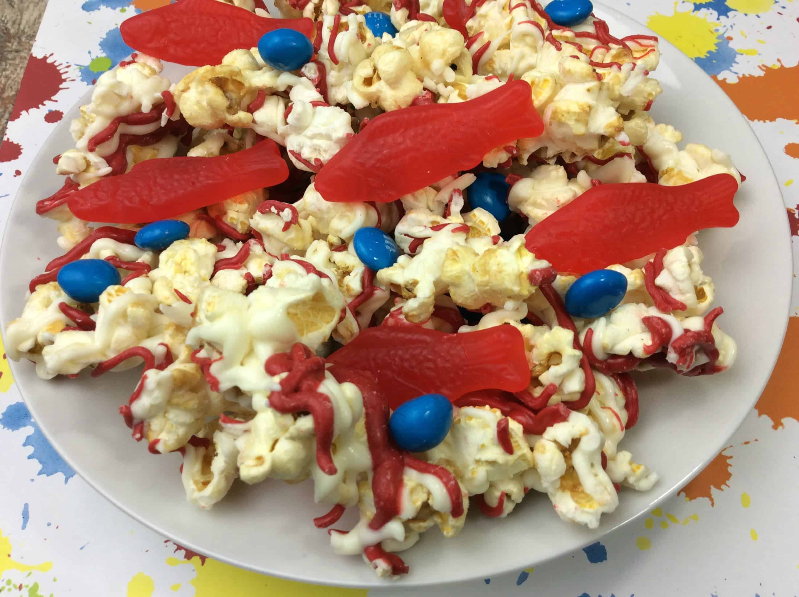 Candy Popcorn Recipe from Dr. Seuss One Fish, Two Fish, Red Fish, Blue Fish.