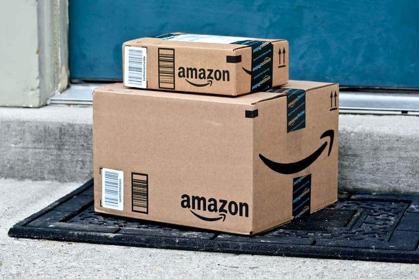 Amazon packages on the doorstep.