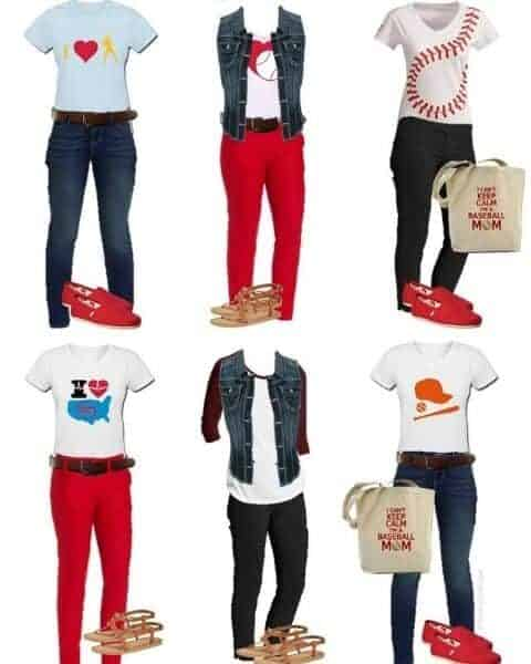 six different baseball themed outfits
