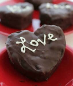 Chocolate Covered Heart Cream Filled Brownies
