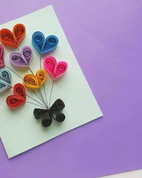Paper Quilling Heart Balloons Card
