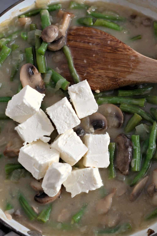Cream cheese in chicken stuffing casserole.