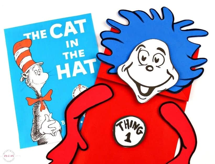 Thing 1 and Thing 2 gift bags for Dr. Seuss\'s birthday.