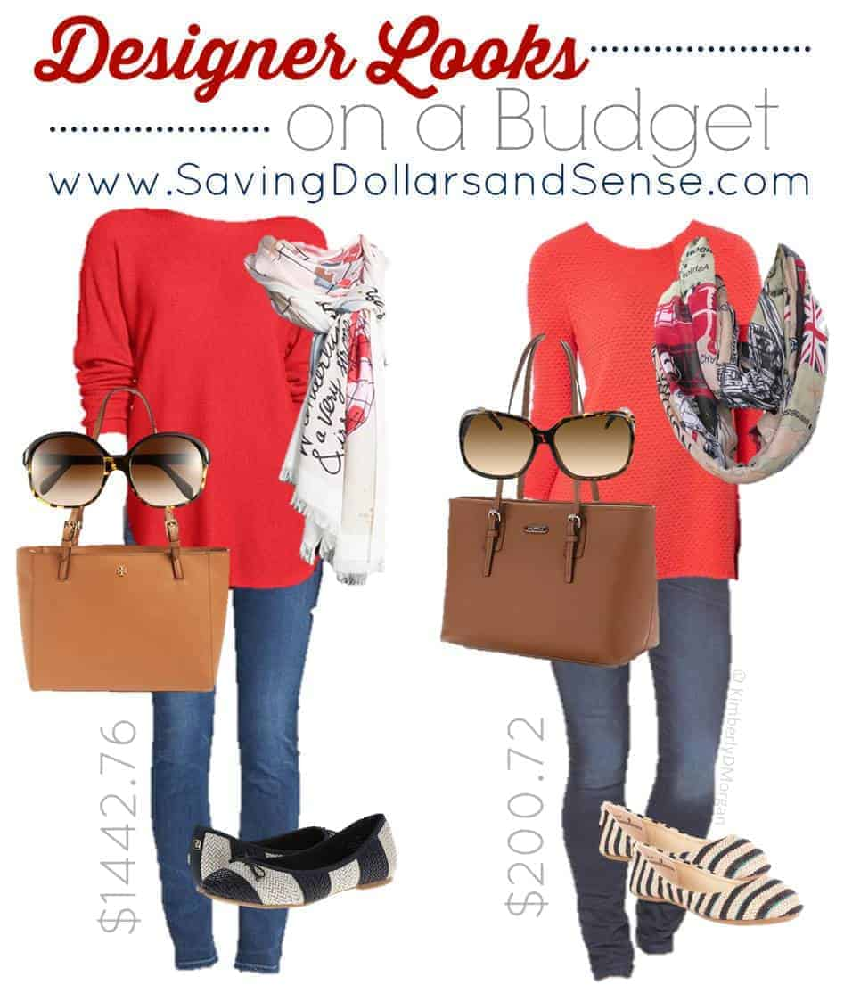 Designer Looks on a budget for red outfits, brown bags, and blue jeans.