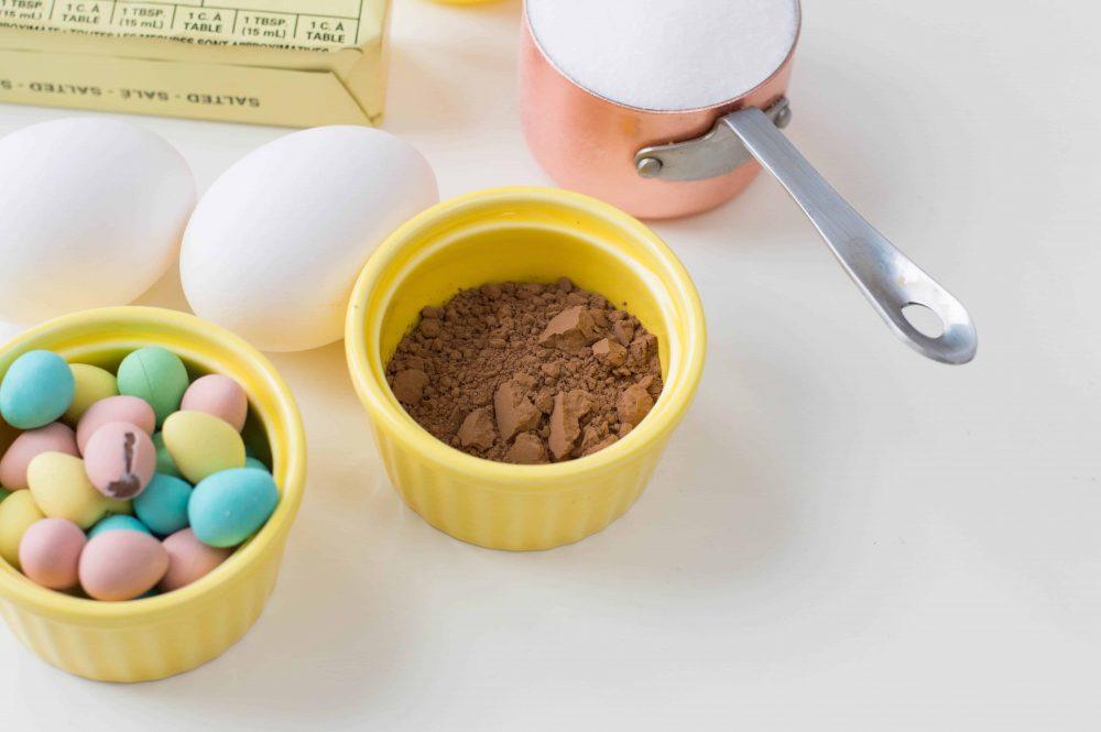 Ingredients for chocolate meringue cookies