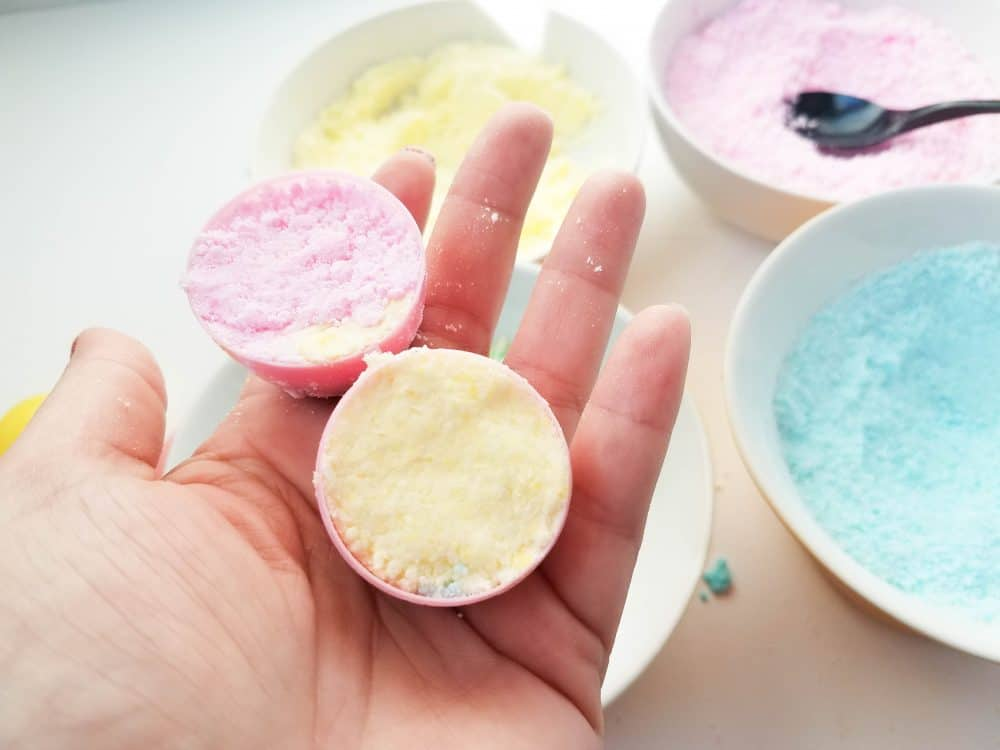 Secure Colorful Easter Egg Bath Bombs in mold.