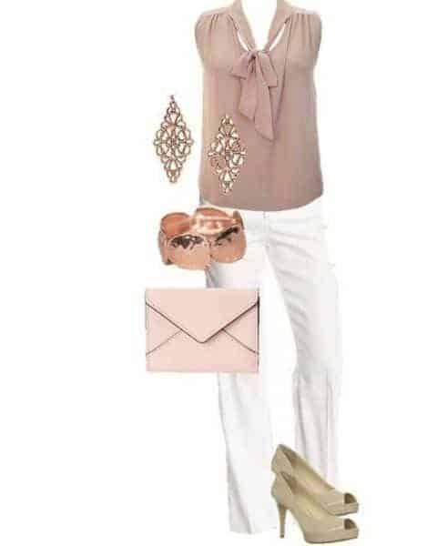 outfit with white slacks, a blush blouse, pink handbag and heels