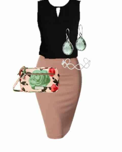outfit layout that includes a black blouse, blush pencil skirt, flower print bag, earring and heels