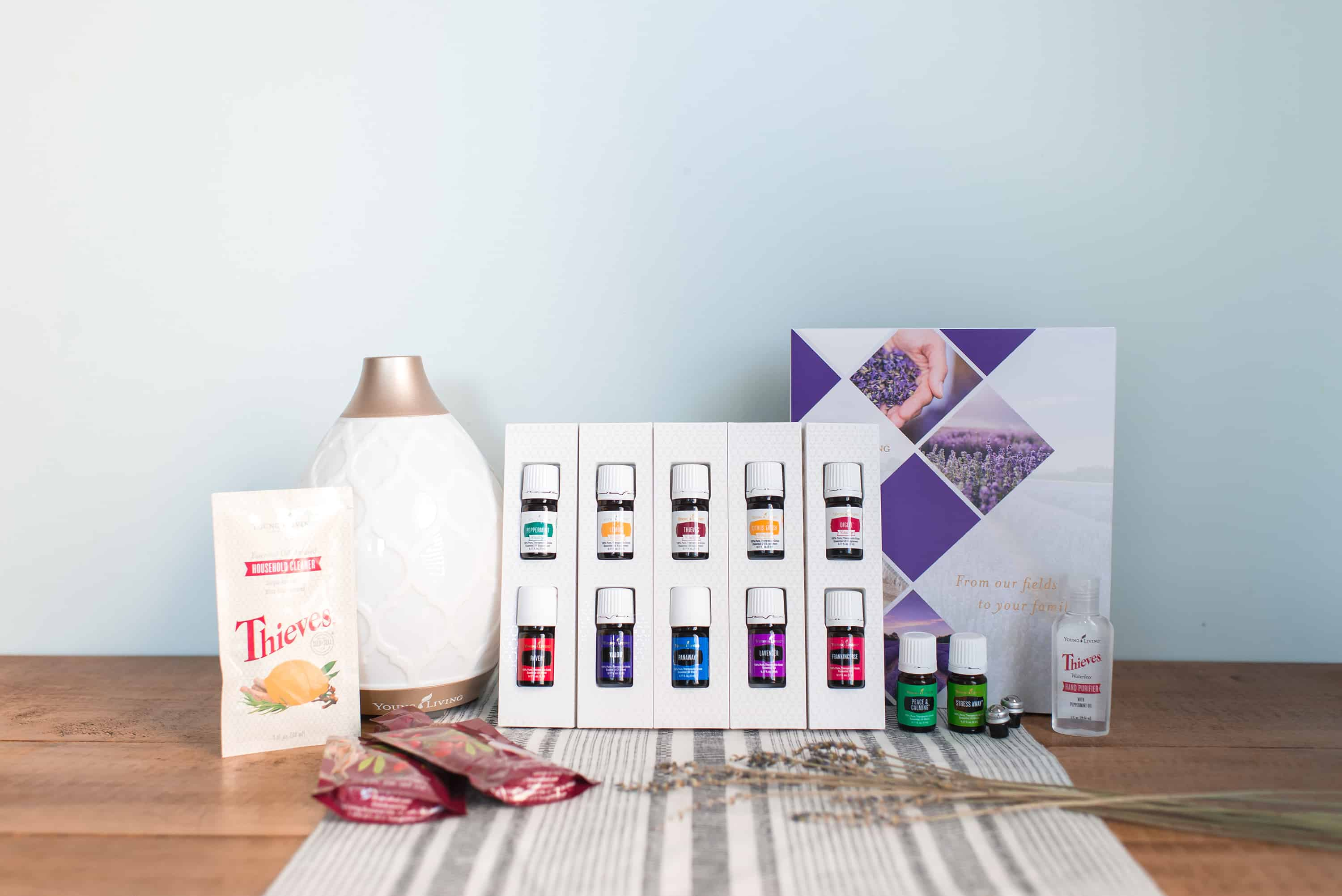 Get a FREE Bottle of Thieves Household Cleaner with Young Living starter kit.