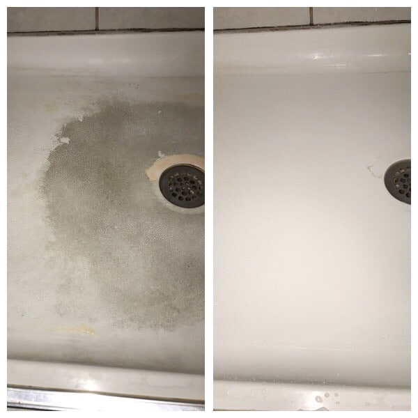 Dirty and clean tub using essential oils and Thieves.