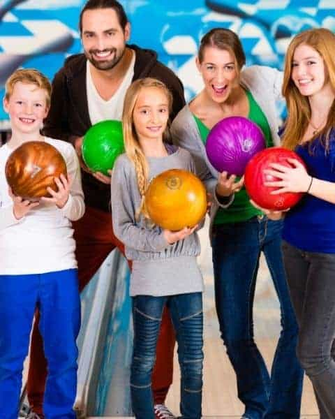 a family out bowling together