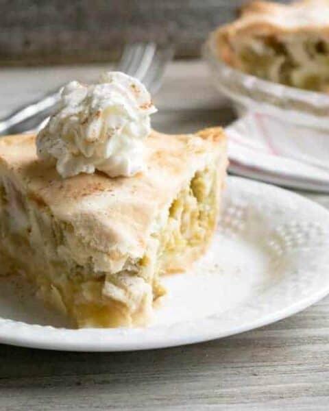 Old fashioned rhubarb custard pie.