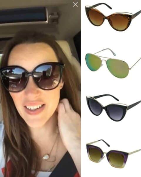 A woman wearing sunglasses taking a selfie. Get a Pair of Sunglasses FREE!