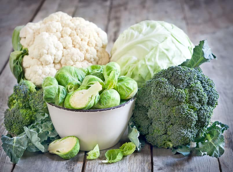 Fresh, garden vegetables for cauliflower, cabbage, Brussels sprouts, and broccoli.
