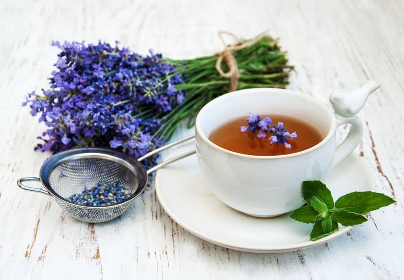 Homemade lavender herbal tea.