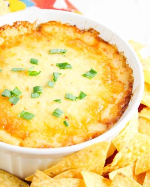 bowl full of cheesy chicken ranch dip