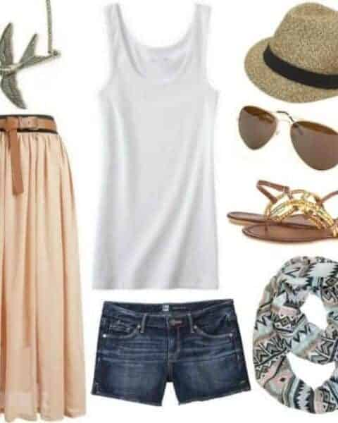 fashion layout that includes jean shorts, awhite tank top, orange maxi skirt, sunglasses, sandals, a scarf and a hat
