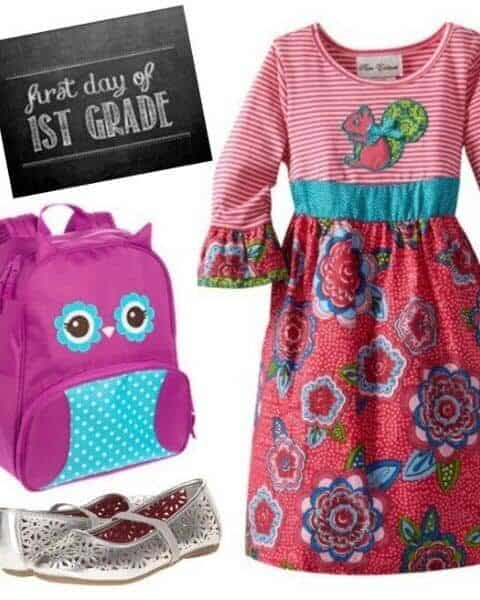 girls dress, backpack, shoes