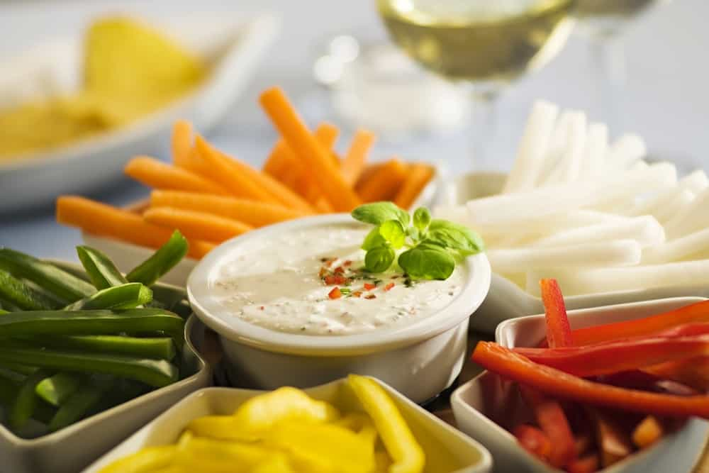 Assorted vegetables sticks and dip of Copycat Hidden Valley Ranch Mix
