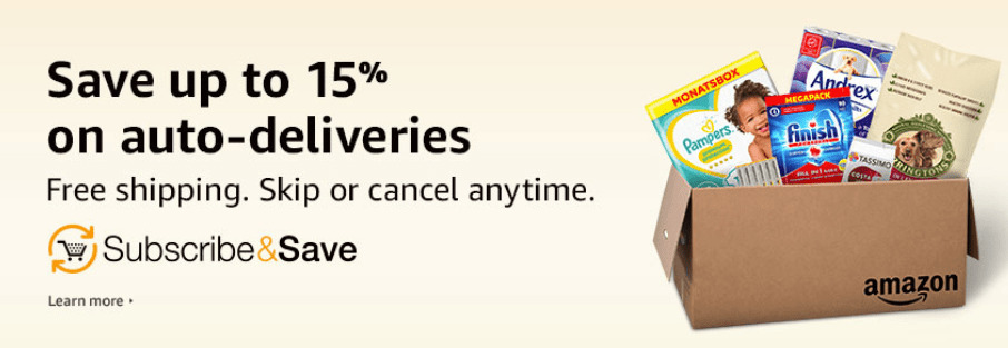 Free shipping and discounts through Amazon\'s subscribe and save.