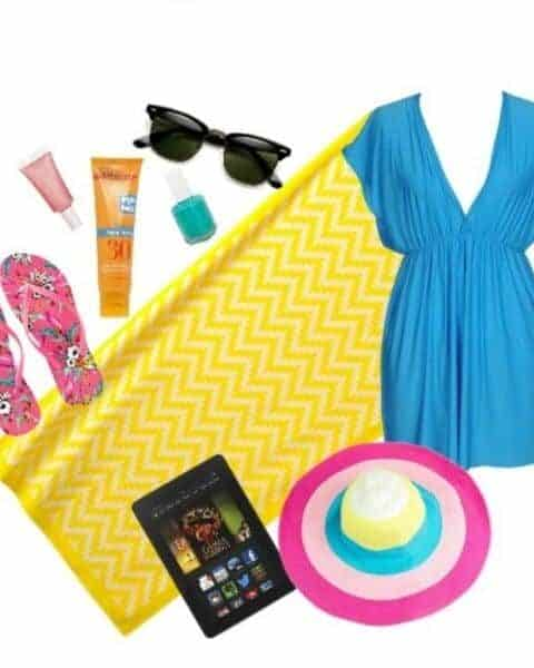 swim cover-up, sunhat, tablet, beach towel, sunglasses, sunscreen, flip flops