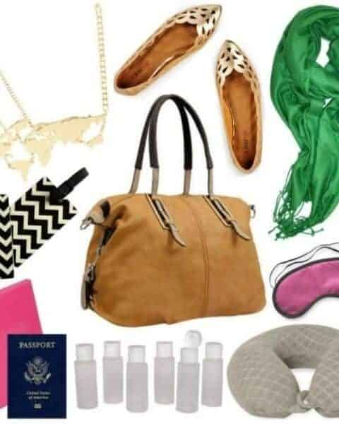 traveling items - bag, scarve, passport, carryon, shoes