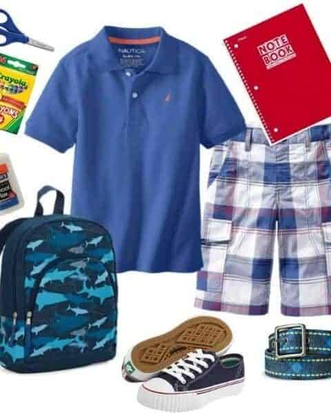 boys clothes, backpack, notebook, school supplies and shoes