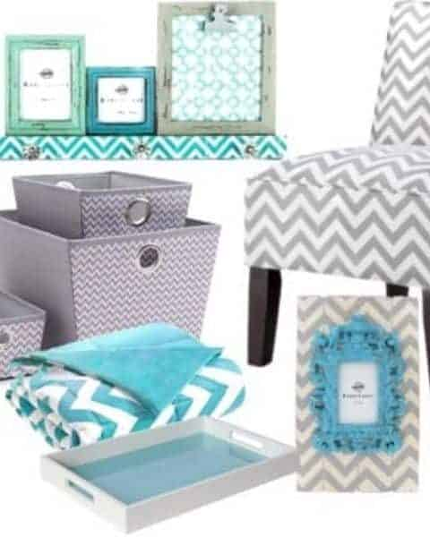 chevron chair, boxes, pillows, blankets, shelves and picture frames