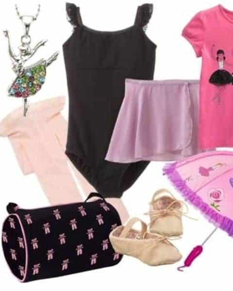 ballet outfit, bag, shoes, umbrella and necklace