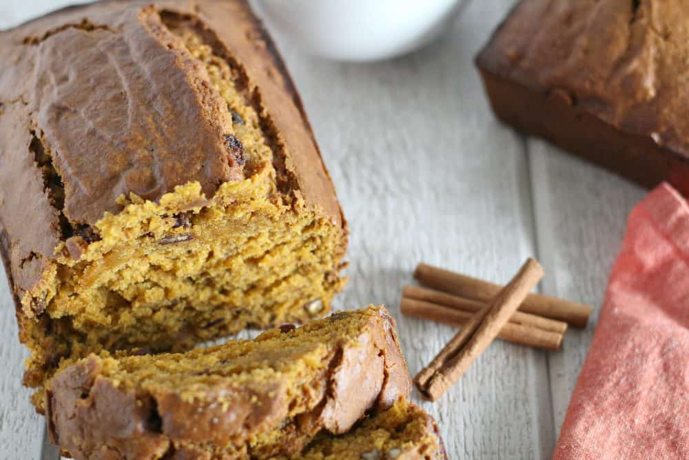 A slice of cake sitting on top of a piece of bread. Easy Pumpkin Bread Recipe