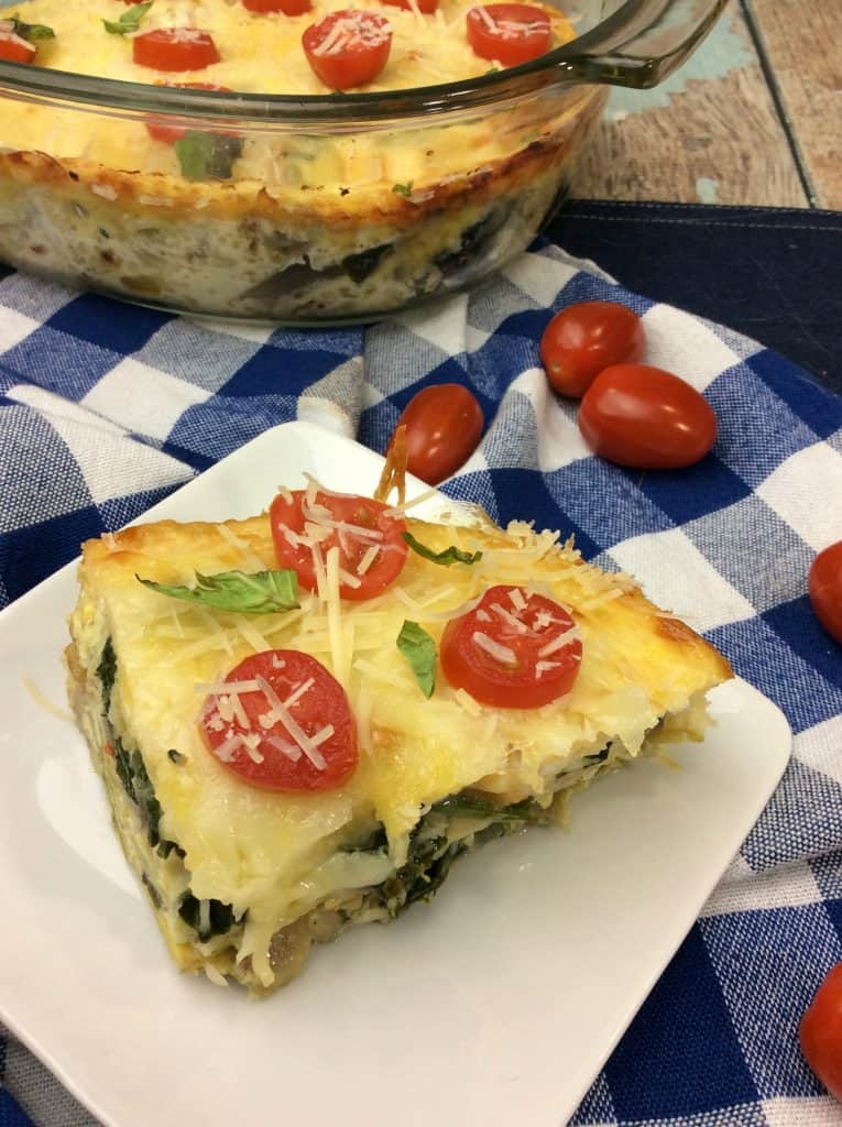 slice of egg casserole with tomatoes
