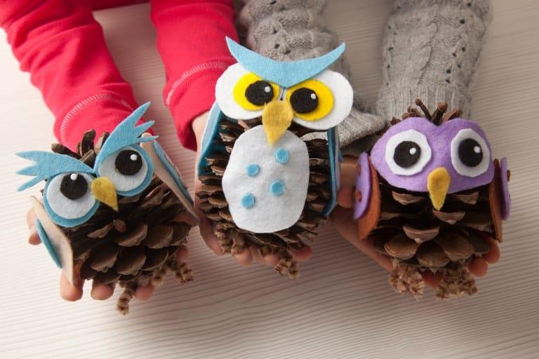 kids pine cone owls