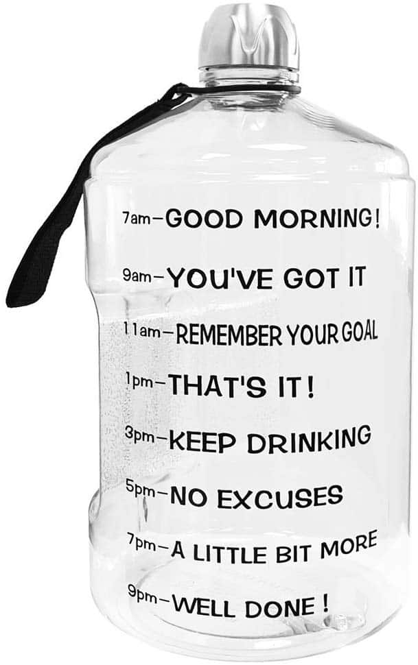 Inspirational drinking water bottle to encourage people to drink more water.